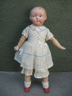 Armand Marseille Antique Bisque Doll Molded Hair Am 210 14"