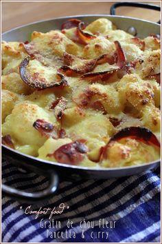 Gratin de chou - fleur pancetta, curry - Mes brouillons de cuisine