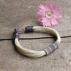 Linen bracelet purple beaded bracelet contemporary by Naryajewelry