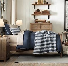 love the desk Kids Bedroom, 15 Stylish Boys Room Decors from Baby & Child Restoration Hardware: Stylish Blue And White Boys Room Decor With Wooden Furniture And Frame Bed Boys Room Design, Boys Room Decor, Kids Bedroom, Bedroom Ideas, Bedroom Designs, Bedroom Inspiration, Restoration Hardware Baby, My New Room, Baby Boys