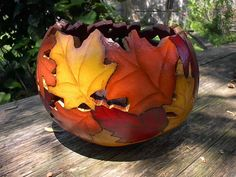 Painted Gourd Art Bowl Fall Home  Autumn by NatsKreations on Etsy,