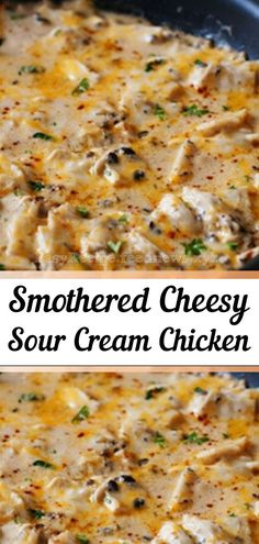 Sour Cream Chicken is an easy and delicious weeknight meal. Boneless chicken breasts are smothered in a simple sour cream sauce. Made with made with simple ingredients, you'll have a tasty chicken dinner on the table in no time. for dinner for two Turkey Recipes, Meat Recipes, Salad Recipes, Main Meal Recipes, Good Easy Dinner Recipes, Recipies, Side Dish Recipes, Crockpot Recipes, Dessert Recipes