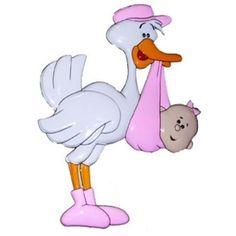 Decoratie ooievaar roze. Decoratie ooievaar in de kleur roze. Voor de geboorte van een meisje. Formaat: 50 x 38 cm. Materiaal: Plastic.