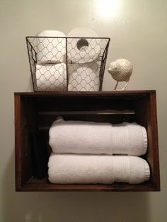 Decorating with Wooden Crates | Bathroom shelf made from a wooden crate