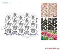 Continuous stitch of pretty flowers. Узоры крючком от MyPicot +ссылка на МК. (дополняю)