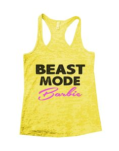 Beast Mode Barbie Burnout Tank Top By Funny Threadz