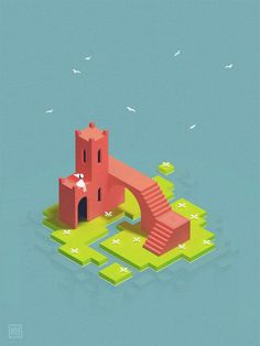 Fan Art: kyleyoungblom - I finished Monument Valley yesterday. It meant so much to me that I just had to fan art a bit. Here's Ida chilling out on a little island in the sun. Isometric Art, Isometric Design, Bg Design, Game Design, Game Concept, Concept Art, Anime Chibi, Pixel Art, Monument Valley Game