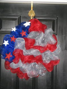 Patriotic mesh deco wreath - available on Etsy