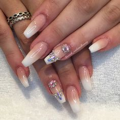 French Ombre Swarovski nails