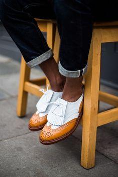 Fancy Two-Tone Wingtips tasseled men's fashion