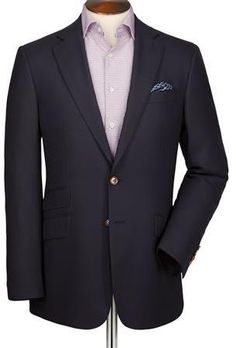 $300, Navy Textured Wool Classic Fit Blazer by Charles Tyrwhitt. Sold by Charles Tyrwhitt. Click for more info: http://lookastic.com/men/shop_items/155795/redirect