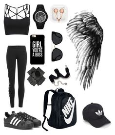 """Untitled #285"" by shoialshammeri ❤ liked on Polyvore featuring adidas, adidas Originals, NIKE, claire's, Black, Quay and Sweet Romance"