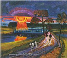 Sunset over the Blue Bridge - Max Pechstein (German, 1881-1955, his work was shown in the Nazi 'Degenerate Art' Exhibit)