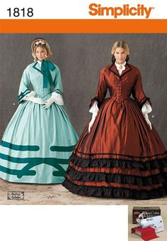 LADIES DRESS CIVIL WAR HISTORIC REINACTMENT SIMPLICITY PATTERN 1818 SZ 8- 14 | eBay