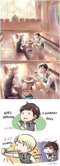 plati-arts: since i keep calling Scorpius and Albus my precious cinnamon rolls, I figured I'd draw them eating…. cinnamon rolls!  Scorbus leisurely afternoon homework sessions with snacks give me life :'D  + bonus comic about eating cinnamon rolls –