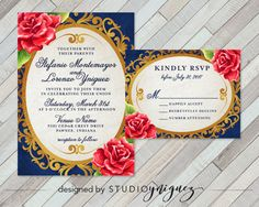 Beauty And The Beast Fairy Tale Printable Wedding Invitation Set Enchanted Mirror Red Rose Invite Rsvp