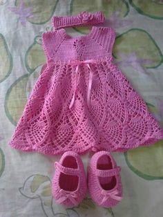 Thread Crochet, Knit Crochet, Crochet Bebe, Girls Dresses, Summer Dresses, Crochet Designs, Baby Dress, Baby Shower, Knitting