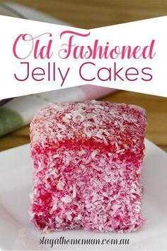 The Real Old Fashioned Jelly Cakes were made in a gem iron – but they are really hard to find now unless you visit a second-hand store. So this is exactly the same recipe – but made in the shape of lamingtons which is just easier for everyone. Cupcake Recipes, Baking Recipes, Cupcake Cakes, Dessert Recipes, Köstliche Desserts, Delicious Desserts, Plated Desserts, Jelly Roll Cake, Jelly Slice