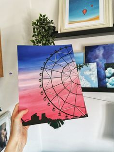 Painting of a fairground ferris wheel silhouette with a pink and blue sunset sky and funfair rides in background. Print available via my website. Small Canvas Paintings, Easy Canvas Art, Small Canvas Art, Cute Paintings, Mini Canvas Art, Acrylic Painting Canvas, Drawing On Canvas, Simple Acrylic Paintings, Easy Art