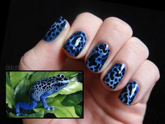 Chalkboard Nails: 31 Day Challenge, Day 13: Animal Print Poison Dart Frog mani