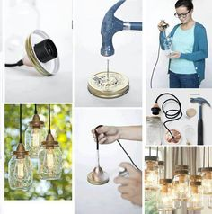 Lamp with glass jars.Here's another clever example to create an interesting lamp from glass jars Mason Jar Projects, Mason Jar Crafts, Mason Jar Diy, Mason Jar Lamp, Hanging Mason Jar Lights, Mason Jar Lighting, Hanging Lamps, Diy Hanging, Diy Luz
