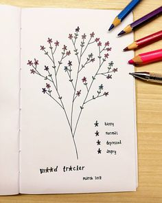 Bullet journal monthly mood tracker, flower drawing. | @wei_love11