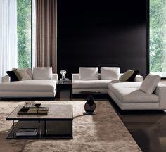 Living Room - Spacious & minimal design with Hamilton sofa and daybed by Italian brand Minotti _ Sofa Design, Canapé Design, Deco Design, Furniture Design, House Design, Clean Design, Minimal Design, Contemporary Interior Design, Modern Interior