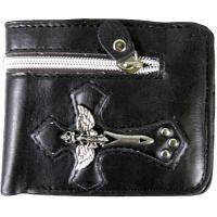 Black Wings & Dagger Cross Leather Bi Fold Biker Wallet I like the black one too!!! :)