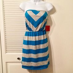 Brand New Mossimo strapless dress, teal and gray! Brand New Mossimo strapless dress, teal and gray, with elastic waist. So adorable and comfortable for summer! 60% cotton / 40% polyester. Size M. Original price $19.99! NWT. Mossimo Supply Co Dresses Strapless