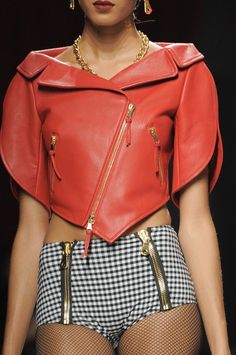 coral sexy leather motorcycle cropped jacket Moschino SS 2014 @}-,-;--