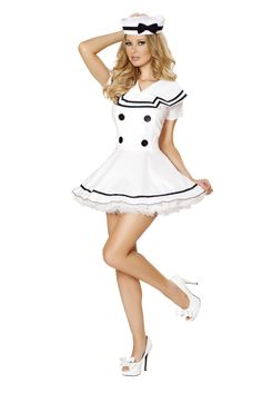 f7fcdaa0ce8c Roma White Blue Pin Up Dress Captain Sergeant General Commander Navy Sexy  Sailor Maiden Costume Adult