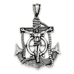 Sterling Silver Antiqued Mariner Cross Pendant QC8363