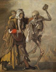 Adriaen van de Venne - Een bedelares met kind naast de dood, die een zandloper in de hand houdt