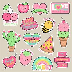 Pink Bee Girl Patches Cute Cartoon Badges Fun Stickers Design for Romantic Stickers Kawaii, Cartoon Stickers, Tumblr Stickers, Cute Stickers, Sweet Drawings, Kawaii Drawings, Cartoon Drawings, Easy Drawings, Doodles Kawaii
