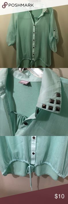 Vanity 3/4 sleeve button down Cute mint green! Size tag is out but will fit medium/large. Stud detail on collar Tops Button Down Shirts