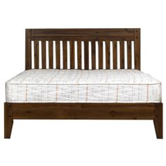 Boasting a classic slatted design, this rich dark acacia 'Elba' wooden bed is a sophisticated addition to any bedroom, and will perfectly complement lighter coloured bedding. Scandi Bedroom, Home Bedroom, Bedrooms, Master Bedroom, Superking Bed, Buy Bed, Beds For Sale, Hazelwood Home, King Beds