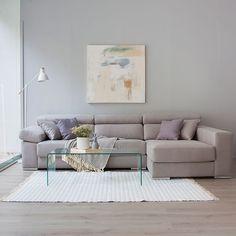sofá con chaise longue XXL tapizado en beige