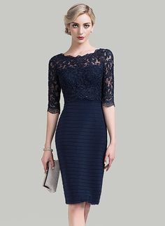 Sheath/Column Scoop Neck Knee-Length Lace Mother of the Bride Dress With Sequins (008089152)