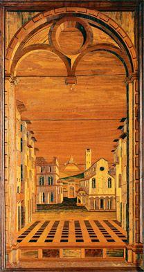 #Wood ~ Fra Giovanni da Verona, Intarsia panel from the Abbey of Monte Oliveto Maggiore, c. 1501-03