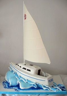 Sailboat This was for a birthday party.a replica of the man's sailboat. I needed 50 servings so I got the idea to do the wave. Birthday Cakes For Men, Themed Birthday Cakes, 50th Birthday Party, Themed Cakes, Birthday Cupcakes, Sailboat Cake, Nautical Cake, Nautical Party, Marine Cake