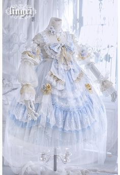 Lingxi Frosting Stars Tea Party Bride JSK(Reservation/Full Payment Without Shipping) Lolita Cosplay, Cosplay Dress, Cosplay Outfits, Pretty Outfits, Pretty Dresses, Beautiful Dresses, Kawaii Dress, Kawaii Clothes, Old Fashion Dresses