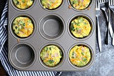 Turkey, Broccoli and Cheddar Mini Frittatas