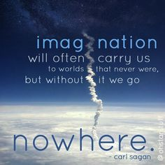 Imagination will often carry us to worlds that never were, but without it we go nowhere. Carl Sagan.