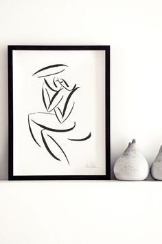 """""""Couple II"""" is a black and white artwork by the Austrian artist Andrea Kollar. A Line Art painting of a loving couple – ink on paper. Prints of this beautiful drawing are limited – all signed and numbered by the artist. It's a beautiful artwork for your home decor and also a unique gift for your loved ones. The painting is available in my online shop love. Minimal art couple 