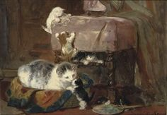 Henriette Ronner (Amsterdam 1821-1909 Elsene)  Playing cats  signed 'Henriette Ronner' (lower right)  oil on paper laid down on panel  27 x 37 cm. private collection