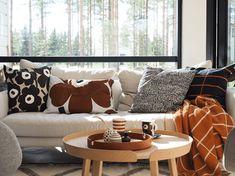 Living Room Sofa, Home Living Room, Living Room Decor, Living Spaces, Nordic Home, Interior Decorating, Interior Design, Marimekko, Scandinavian Interior