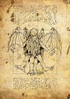 CTHULHU VITRUVIAN    Commission to create an illustration based on Leonardo DaVinci's famous Vitruvian Manto serve as a prop in a roleplaying game.