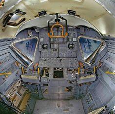 Interior view of the Apollo Lunar Module (LM), originally designated the Lunar Excursion Module (LEM).