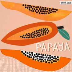 Delicious papaya. Food illustration by Sarah Allen. Tropical fruit.  Food from Laos.