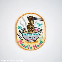 Noodle Head Iron On Patch por BelsArt en Etsy